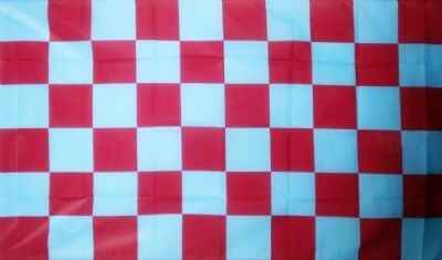 CHECKERED CLARET & BLUE - 5 X 3 FLAG